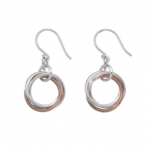 Entwined Rose and Silver Hoops
